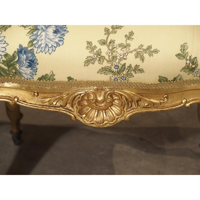 Fabric Antique Giltwood Regence Style Banquette From France, 19th Century For Sale - Image 7 of 13