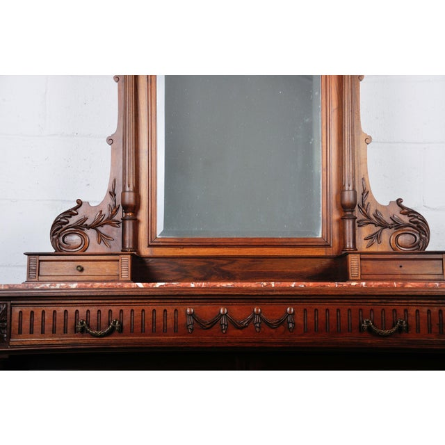French 1900's French Walnut Vanity Dresser with Red Italian Marble Top For Sale - Image 3 of 13