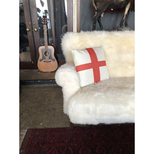 White Mongolian Wool Sofa For Sale - Image 10 of 13