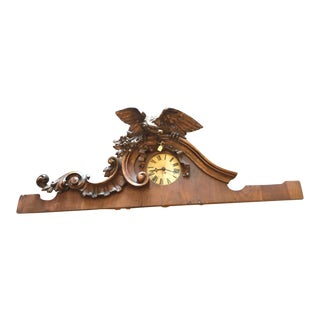 20th Century Antique Wooden Frieze With Eagle and Clock For Sale