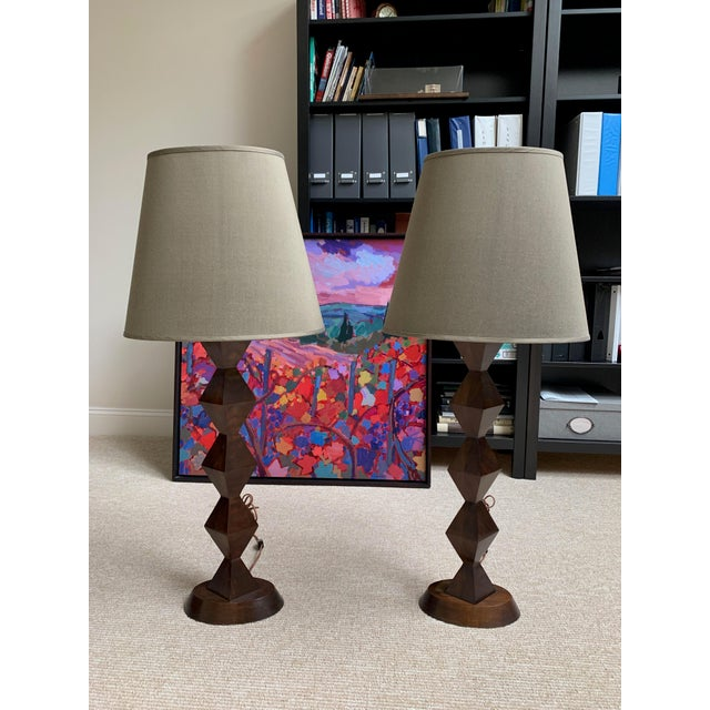 Walnut Stephen McKay Geometric Walnut Custom Table Lamps with Shades - a Pair For Sale - Image 7 of 7