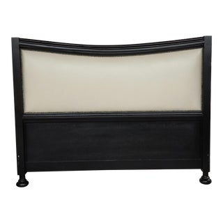 Contemporary King Size Leather Headboard With Nail Head Trim - Custom Made For Sale