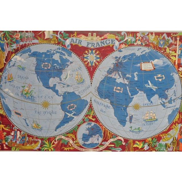 "Large Framed 1952 Lucien Boucher ""Air France"" World Map Framed Poster Planisphere For Sale - Image 9 of 12"