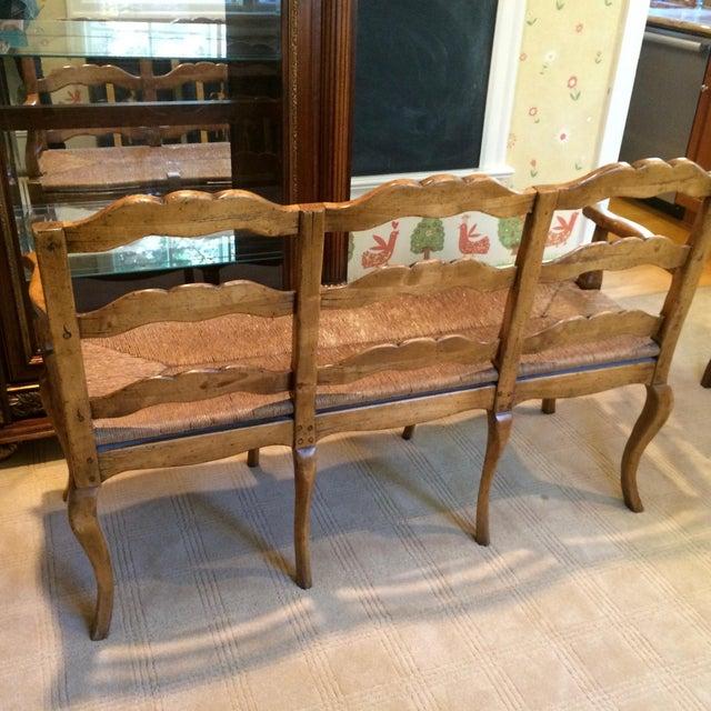 French Country Wood Amp Rush Seat Bench Chairish