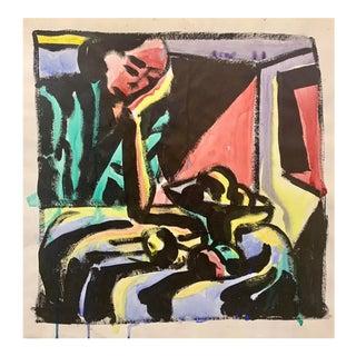 "Donald Stacy ""Women and Fruit"" C.1950s Gouache Mid Century Portrait Painting For Sale"