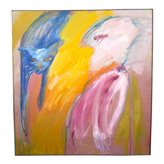 """1970s Expressionist Portrait """"Goodbye Saki"""" Outsider Art Oil Painting on Canvas Bird and Cat Portrait by Suzanne Peters For Sale"""