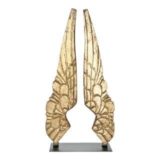 Vintage-Inspired Hand-Carved Gilded Wood Wings On Stand - a Pair