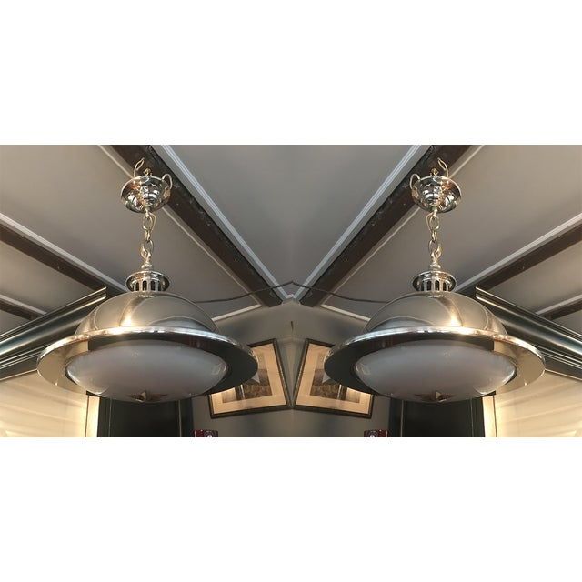 Remains Lighting Brooklyn Ny Stainless Orson Pendant Lights - a Pair For Sale In New York - Image 6 of 6