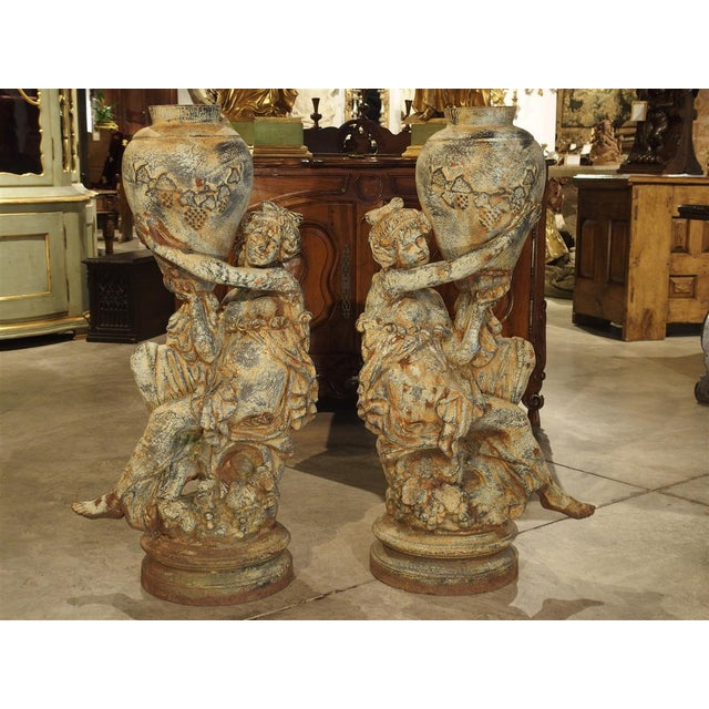 Beautiful Pair of Antique Cast Iron Figural Garden Urns For Sale - Image 13 of 13