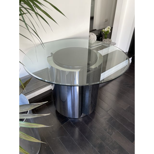 Contemporary 1980s Pace Collection Chrome and Granite Dining Table With Glass Top For Sale - Image 3 of 8