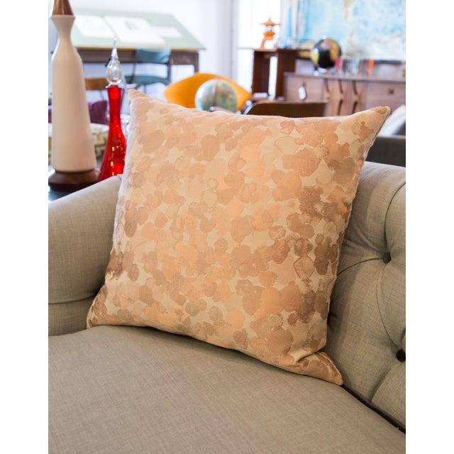 Feather Iridescent Rose Gold Pillow For Sale - Image 7 of 8