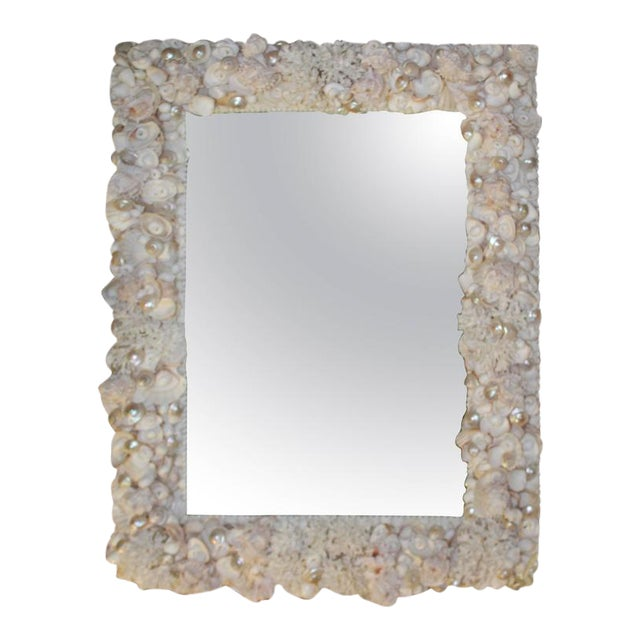 Vintage Seashell Encrusted Wall Mirror Palm Beach Vintage Coral Shell For Sale