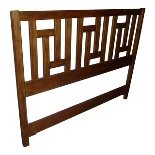Vintage Mid-Century Modern Drexel Solid Wood Quality Headboard Unique Full /Queen Design Foot Board Zen Poster Beauty For Sale