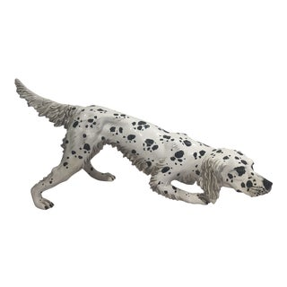 Vintage Italian Ceramic Black & White Pointer Statue For Sale