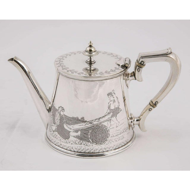 Silver Three-Piece Child's Tea Set and Tray For Sale - Image 8 of 11