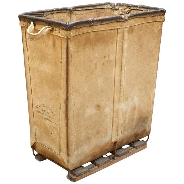 Vintage Petite 1940s Industrial Canvas Laundry Clothing Textile Bin Basket For Sale