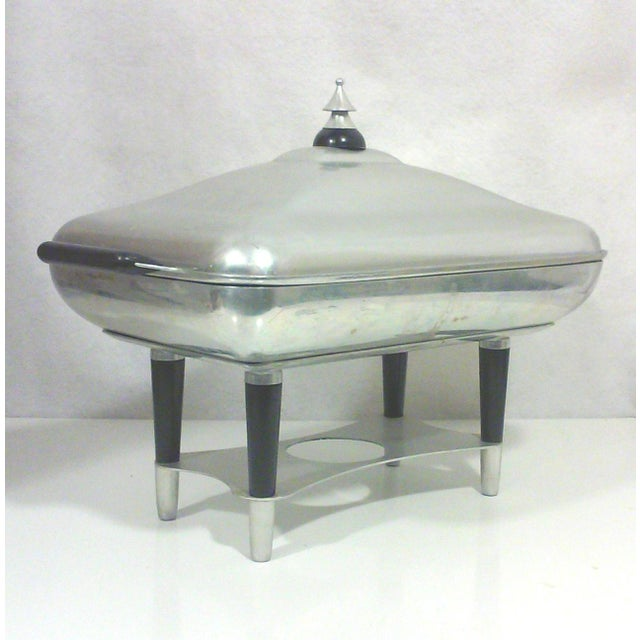 Silver Machine Age Deco Aluminum Chafing Dish For Sale - Image 8 of 8