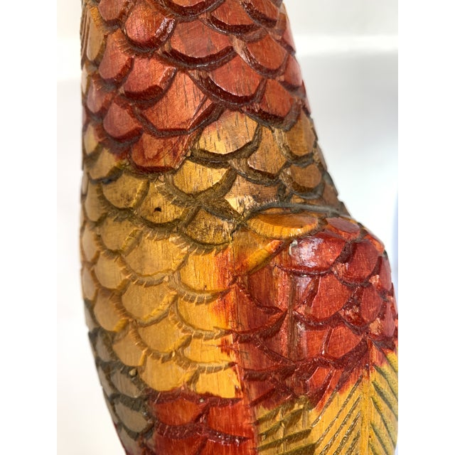 Painted Carved Wood Parrot Sculpture For Sale - Image 9 of 12
