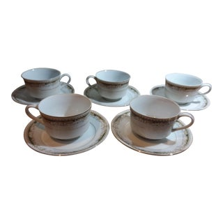 Vintage Queen Anne Signature Collection Fine China Cups & Saucers - Set of 10