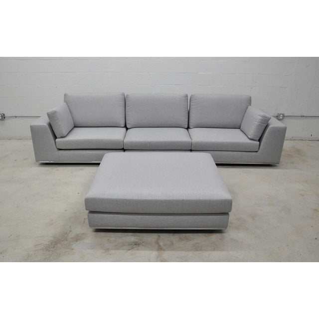 Contemporary Gray Modular Sectional Sofa and Ottoman For Sale - Image 13 of 13