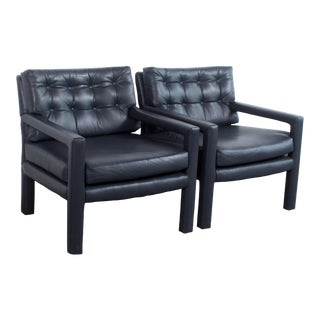 Vintage Mid Century Modern Milo Baughman Leather Parsons Chairs in Royal Blue - a Pair For Sale