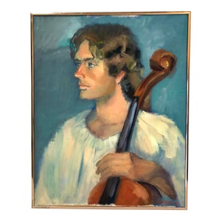1988 Framed Man With Cello Oil on Canvas Portrait Painting, Signed For Sale
