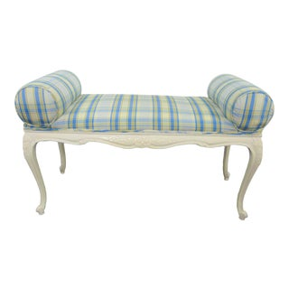 Louis XV Style Cream Plaid Window Bench For Sale