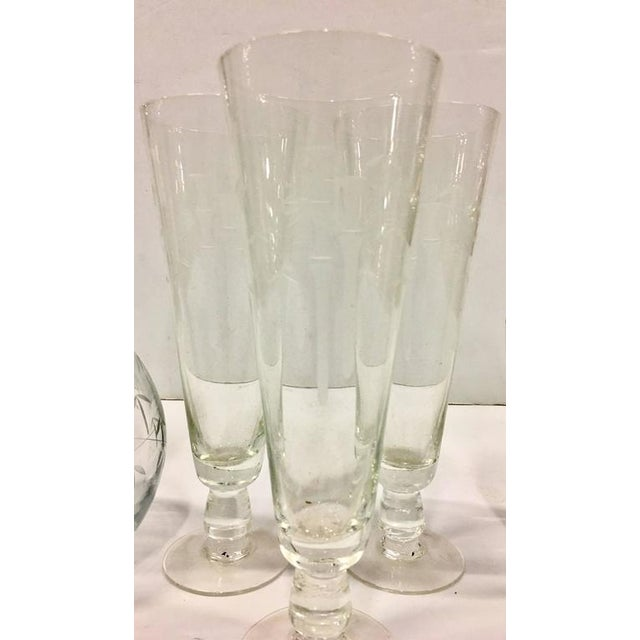 Mid-Century Japanese Etched Crystal Bamboo Drinks - Set of 7 For Sale - Image 5 of 10