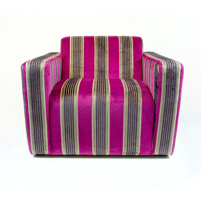 British Airways First Class Striped Club Chair - Image 2 of 10
