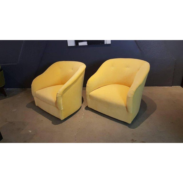 Fully Restored 1960s Vintage Ward Bennett Canary Yellow Velvet Swivel Chairs - a Pair - Image 8 of 11