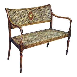 French Regency Style Paint Decorated Bench For Sale