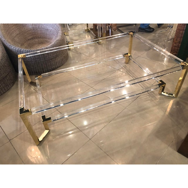 Vintage Hollywood Regency Geometric Brass and Lucite Two Tier Glass Cocktail Table For Sale - Image 4 of 12