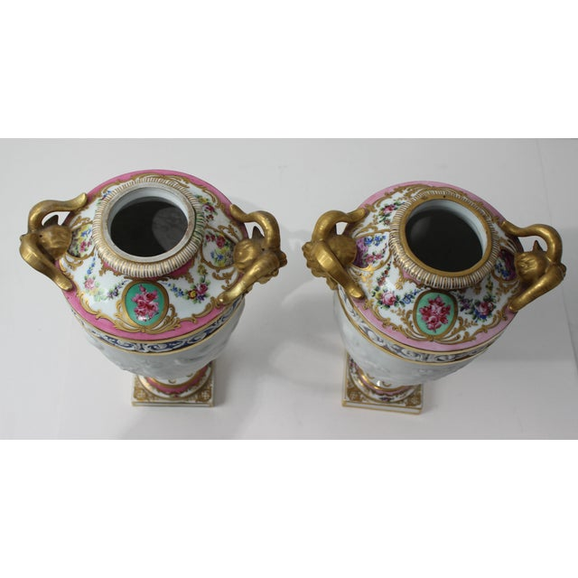Ceramic Antique 19th Century Sevres Style Urns - a Pair For Sale - Image 7 of 13