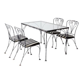 Vintage Wrought Iron Patio Table and Chairs - Set of 5 For Sale