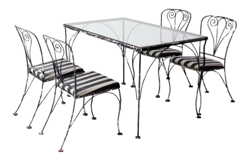 Vintage Wrought Iron Patio Table And Chairs   Set Of 5