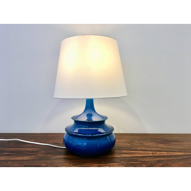 Mid-Century Modern Rare 1960s Turquoise Glazed Danish Vintage Table Lamp by Nils Kähler For Sale - Image 3 of 6