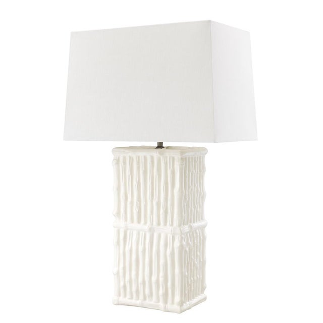 Asian Sagano White Ceramic Table Lamp For Sale - Image 3 of 3