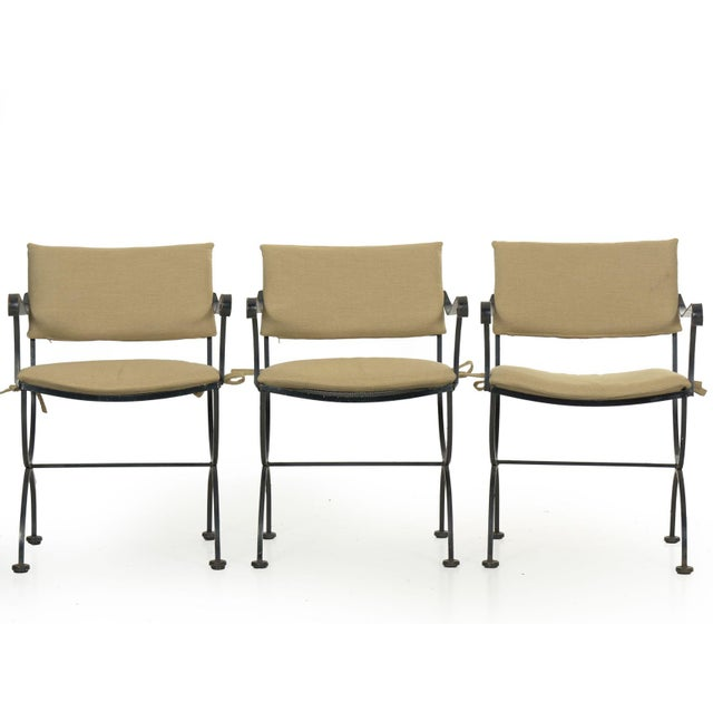 Tan Set of Six Salterini Style Black Iron Patio Dining Chairs, Mid 20th Century For Sale - Image 8 of 13
