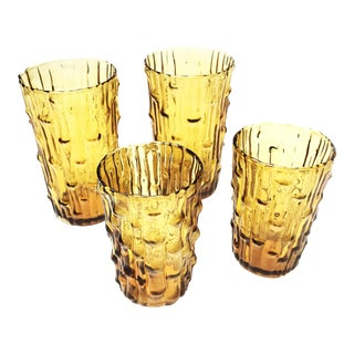 Vintage Mid-Century Italian Enesco Amber Colored, Bamboo Textured Glasses - Set of 4 For Sale