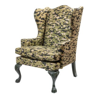 Wing Chair in Fortuny Fabric For Sale