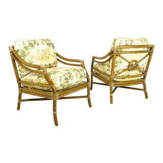 Pair of McGuire Rattan Armchairs For Sale