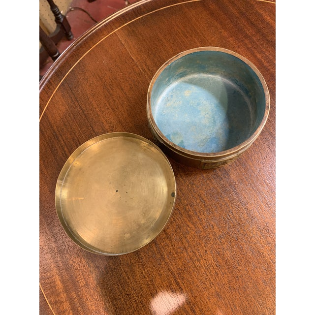 Antique Chinese Brass and Enamel Box With Porcelain Top. For Sale - Image 4 of 6