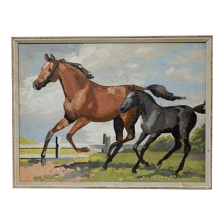 Amateur Framed Paint-By-Number Horse Painting