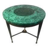 Image of Late 20th Century Specimen Malachite Top Iron Base Side Table For Sale