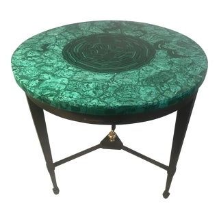 Late 20th Century Specimen Malachite Top Iron Base Side Table For Sale