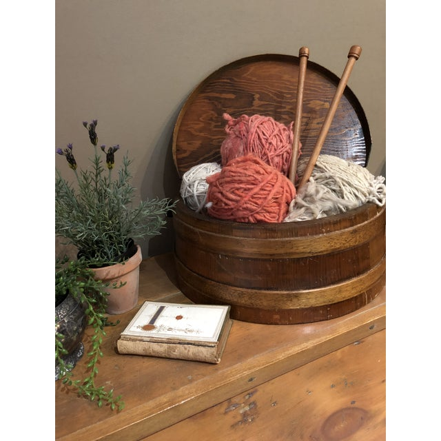 1930s Shaker Firkin Wood Sewing Basket For Sale - Image 10 of 11