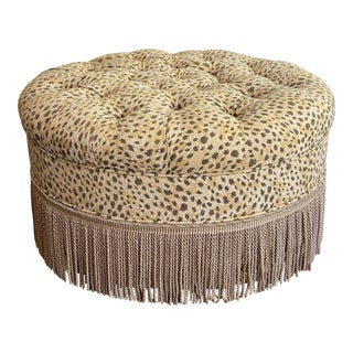 Leopard Print Round Tufted Ottoman With Fringe For Sale