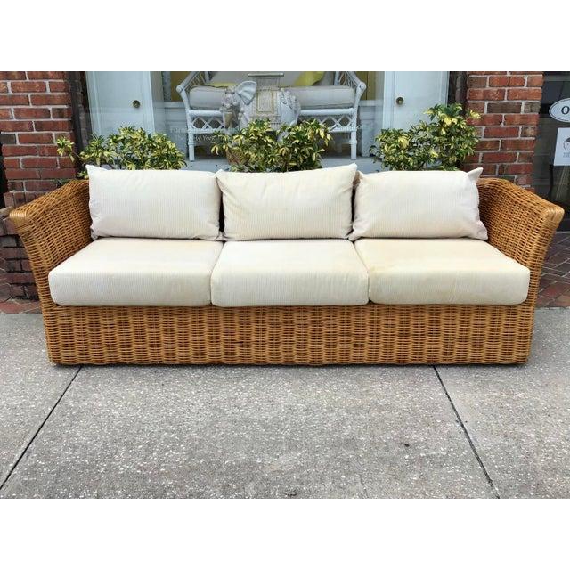 Boho Chic Rattan Tuxedo Sofa For Sale - Image 11 of 11