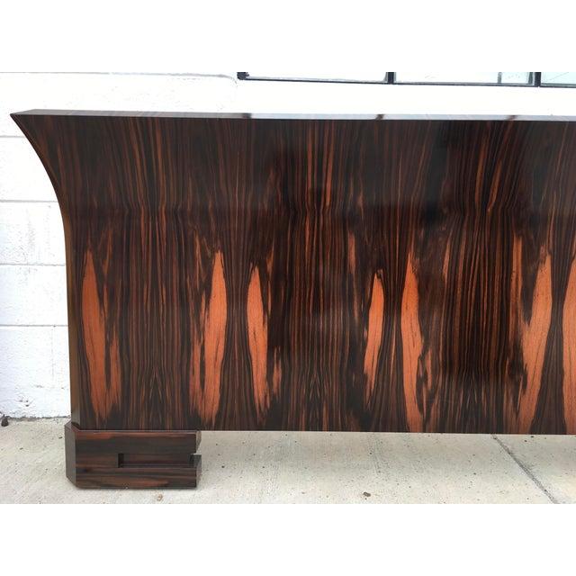 1980s Art Deco Cal King Bedframe in Macassar & Birdseye Maple For Sale - Image 10 of 13