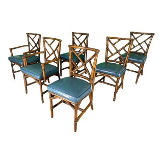 Set of Six Chinese Chippendale Bamboo Dining Chairs For Sale